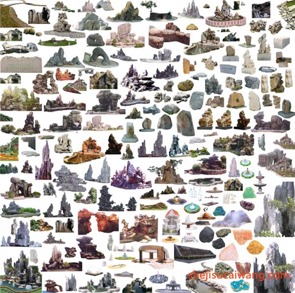 假山石头雕塑PSD分层素材