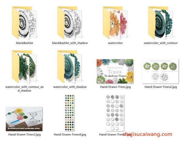 春天清新水彩手绘建筑设计海报俯视树木花朵元素png格式素材