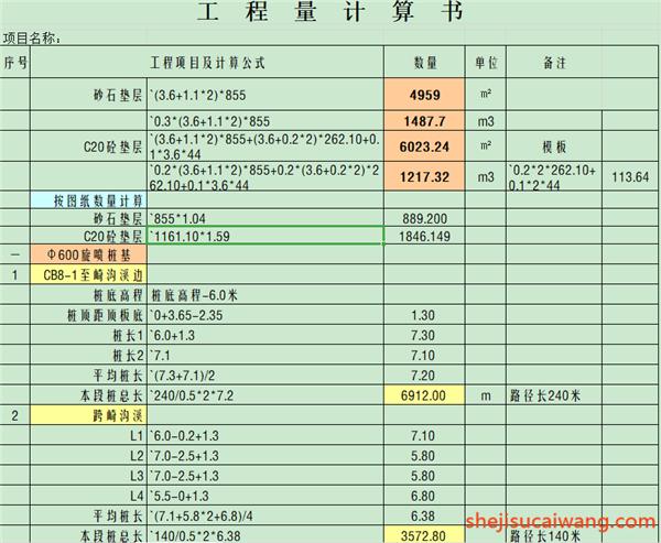 部分工程量计算表格详情4