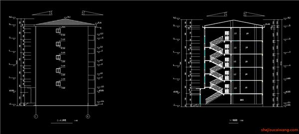 C-A立面图,1-1剖面图