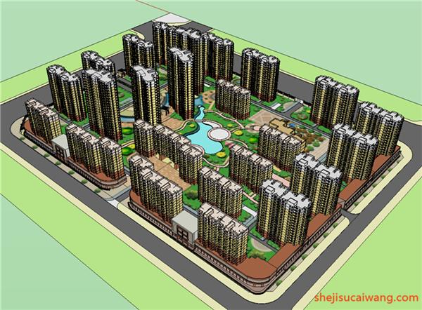 居住区规划设计方案SU+CAD