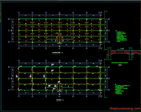 二层梁、板平法施工图