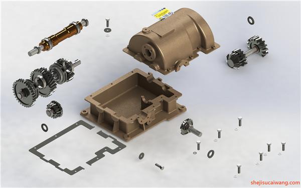 变速箱减速器蜗轮蜗杆三维图纸3