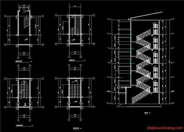 建筑楼梯平面图、楼梯详图
