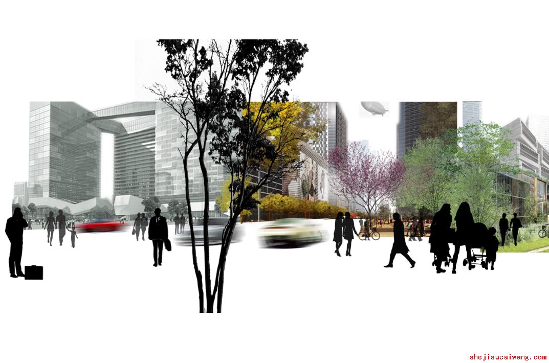 AECOM效果图素材-城市景观效果图PSD分层源文件