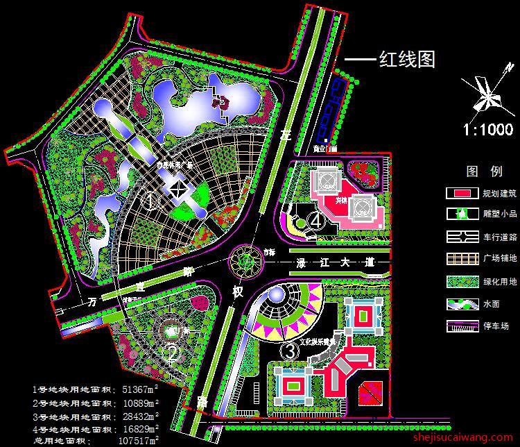 公园广场景观CAD总平面图3