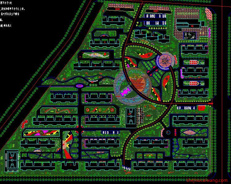 居住区景观绿化总平面图纸4
