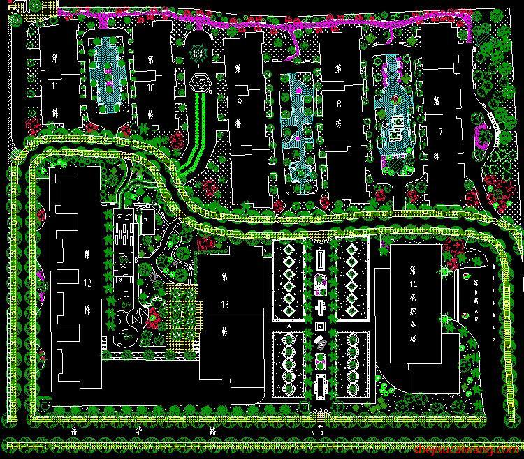 居住区景观绿化总平面图纸6