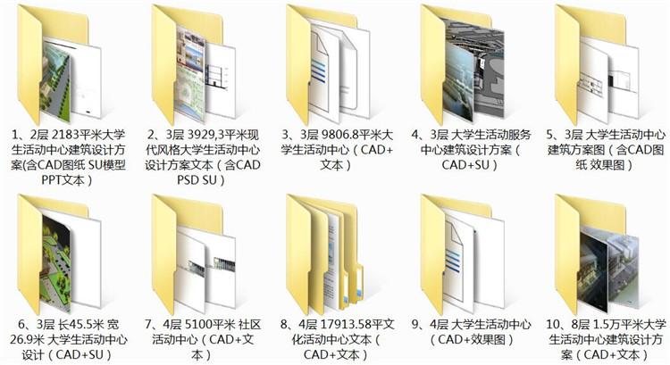 02二层大学生活动中心建筑设计方案含CAD图纸SU模型PPT文本