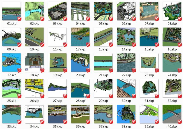 04滨水景观SU模型文件