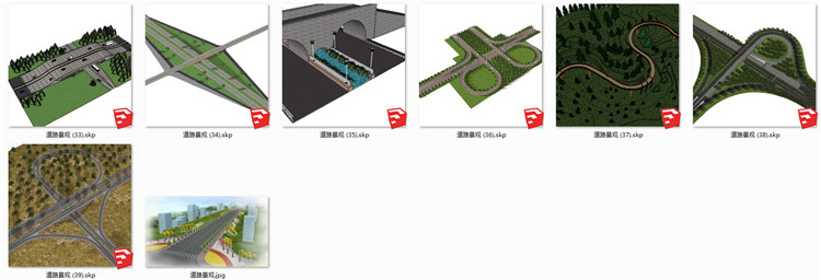 04道路景观SU模型3