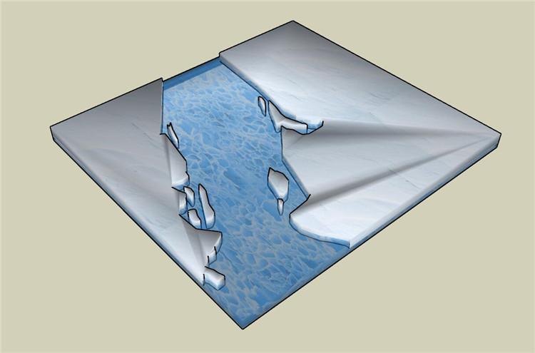 05北极水域冰裂地形SU模型