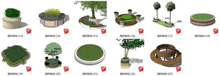 05圆形树池SU模型文件2