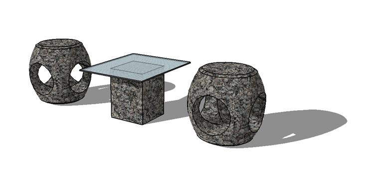 05新中式茶几坐凳SU模型3