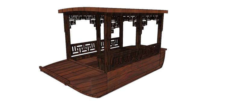 05木筏渔船SU模型3