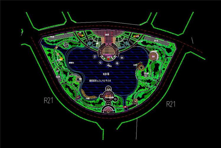 06人工湖公园规划平面图
