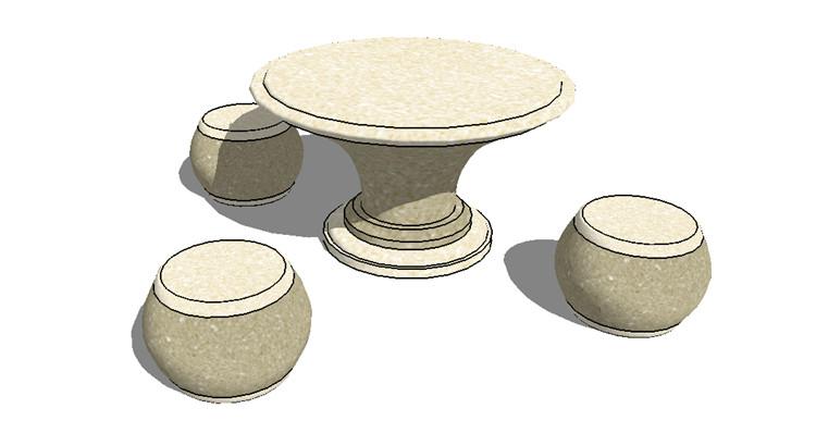 06新中式茶几坐凳SU模型4