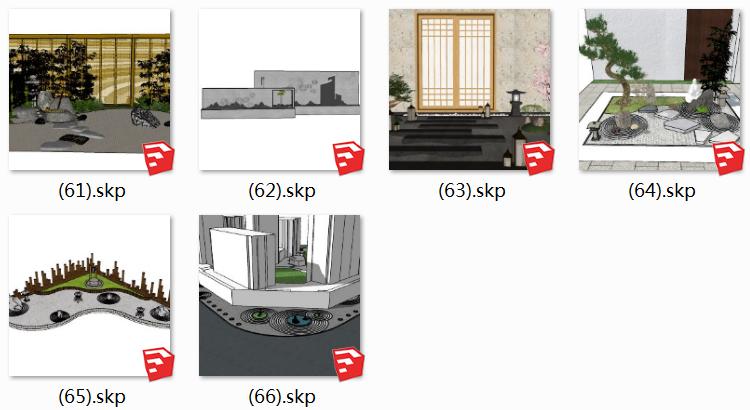 07日式枯山水SU模型6