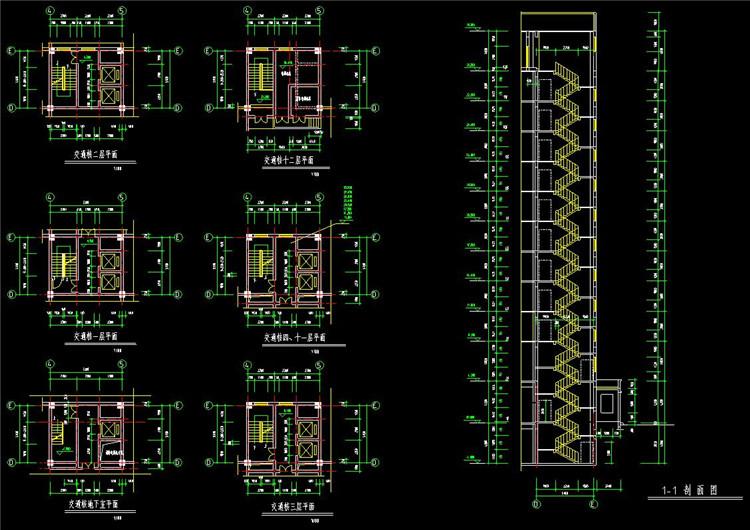 07楼梯CAD剖面图