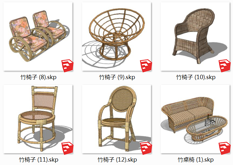 07竹桌椅SU模型