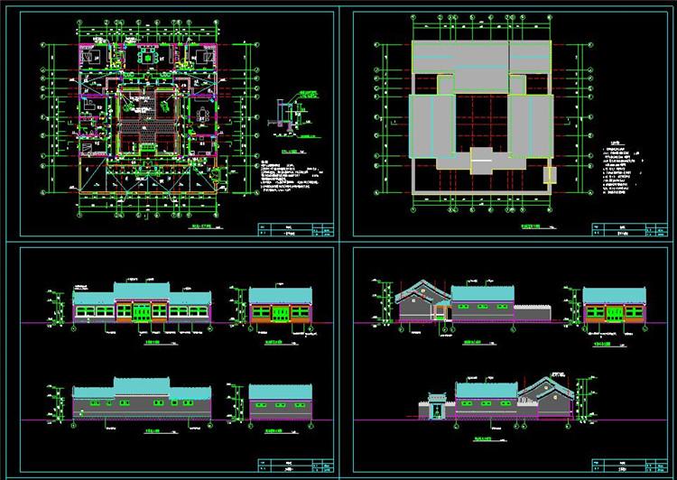 07长24.54米 宽26.64米 单层北京经典四合院CAD图