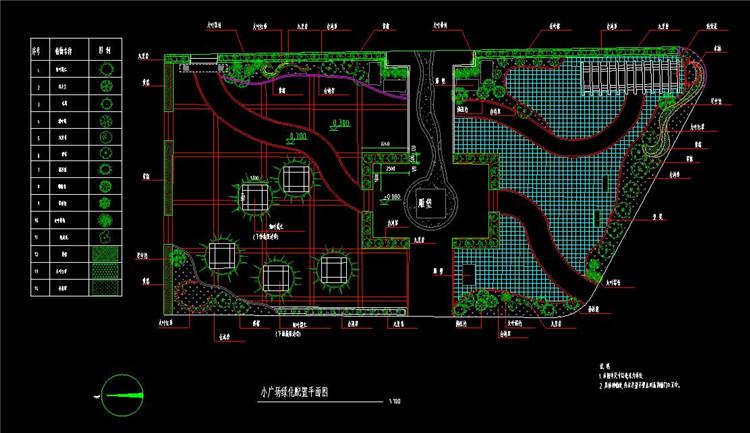 08小广场绿化配置平面图
