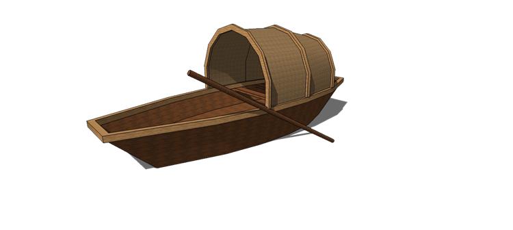 08木筏渔船SU模型6