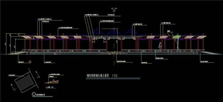 08钢结构玻璃长廊立面图