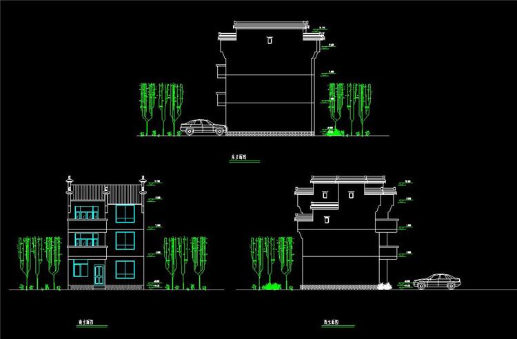 09三层别墅(带庭院)徽派风格建筑平立面CAD图纸