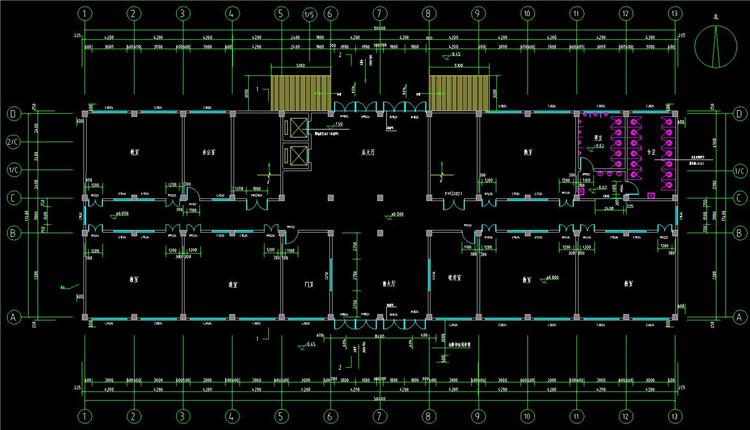 09四层教学楼CAD图纸