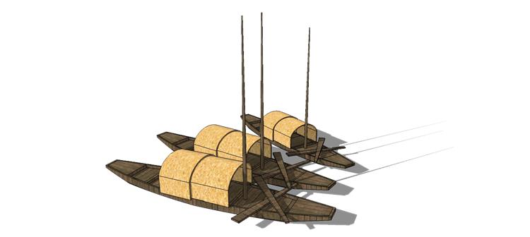 09木筏渔船SU模型7