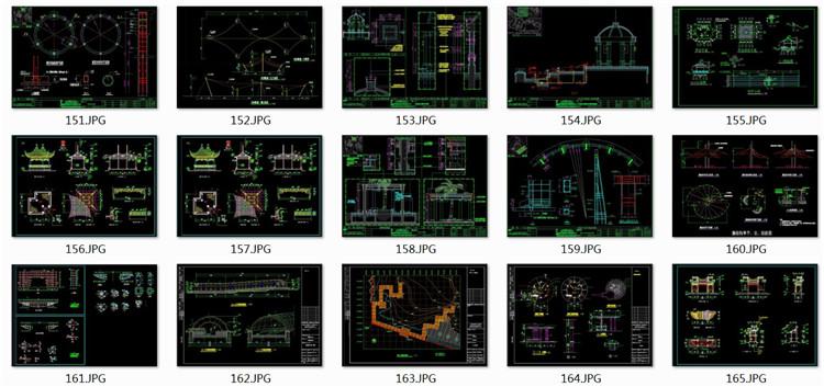 10亭廊花架平面图
