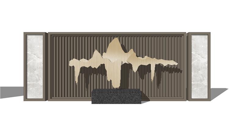 10山水景墙山石片岩SU模型4