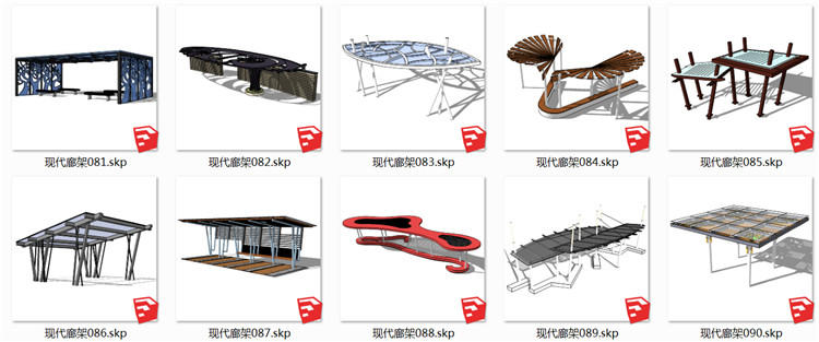 10景观廊架SU模型9