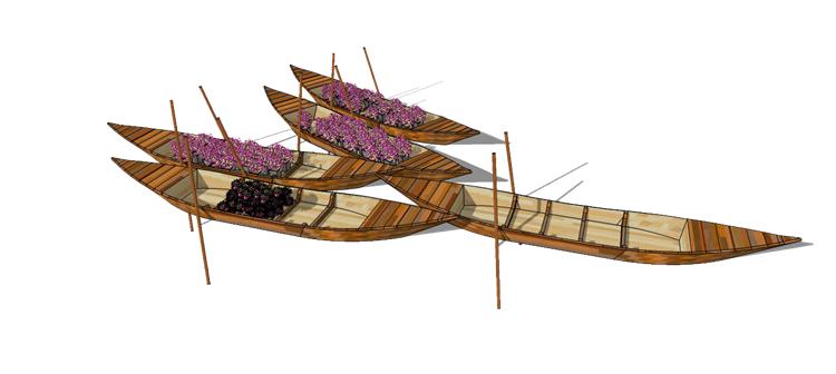 10木筏渔船SU模型8