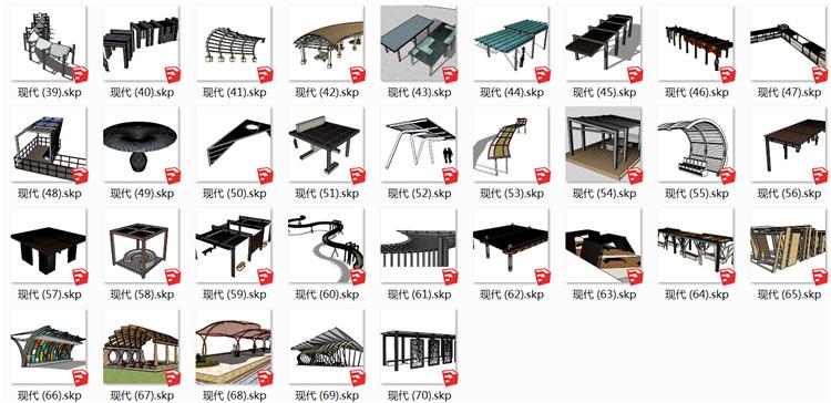 10现代花架廊架SU模型1