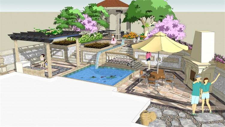 10私家庭院SU模型