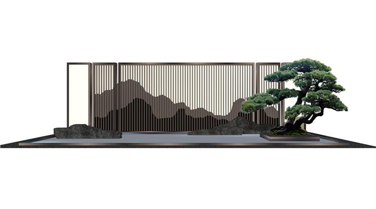 11山水景墙山石片岩SU模型5