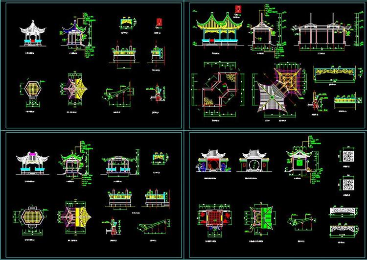 11景观亭CAD施工图纸