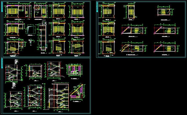 11楼梯电梯并联设计详图平面剖面图