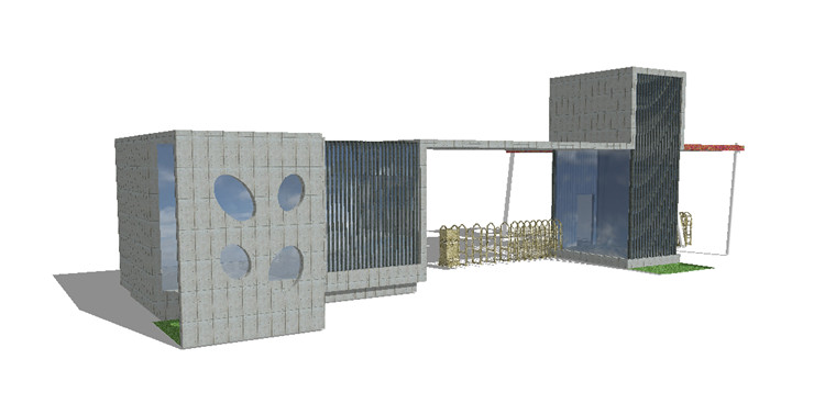 11现代大门SU模型10