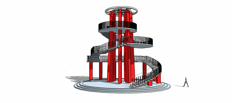 11观景塔SU模型6