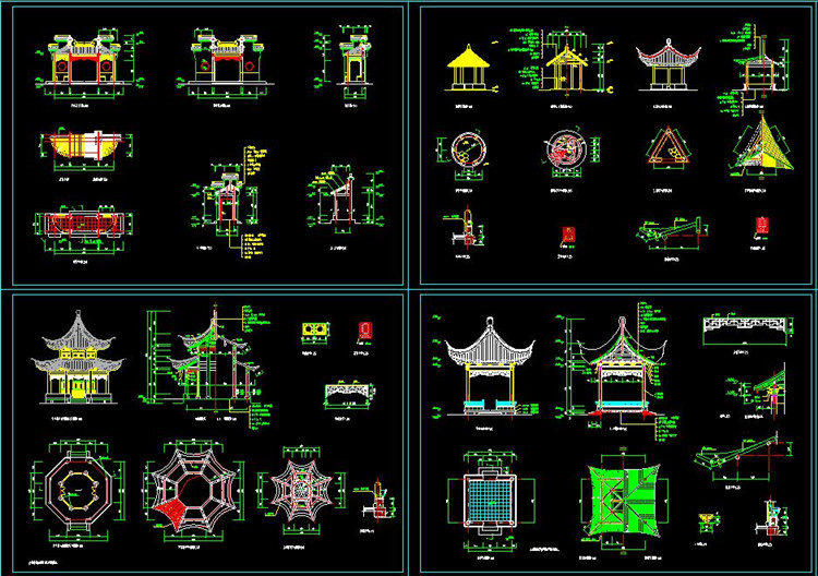 12八角亭CAD施工图纸