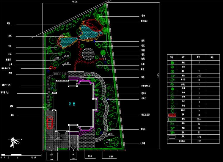 12别墅庭院景观CAD平面图