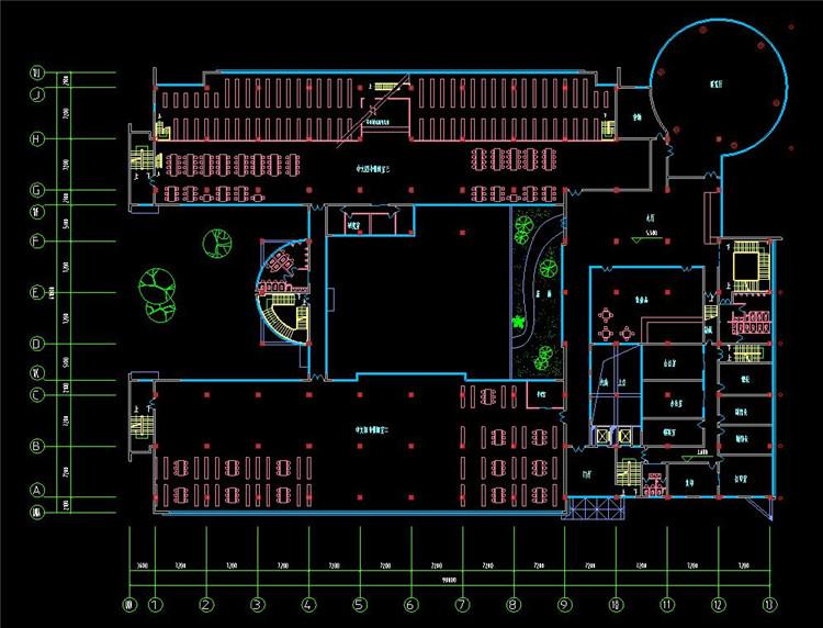 12图书馆CAD施工图纸