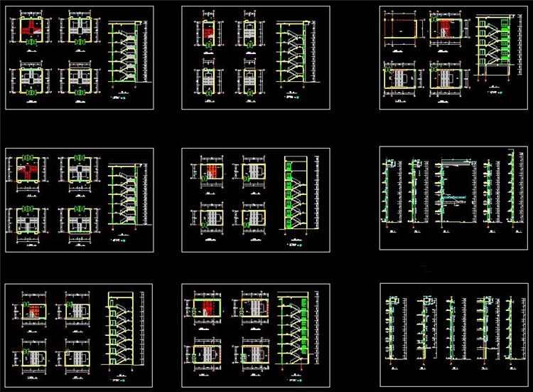 12教学楼楼梯平面图剖面图