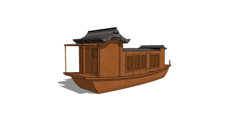 12木筏渔船SU模型10