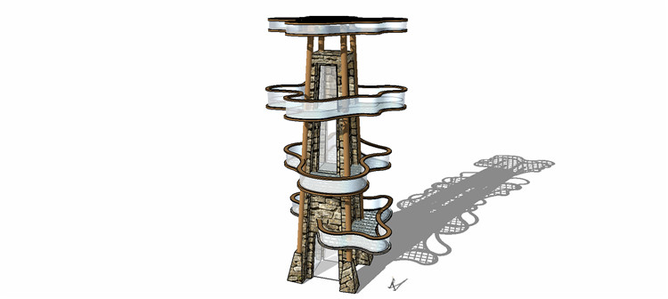 12观景塔SU模型7