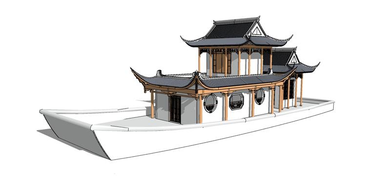 13木筏渔船SU模型11