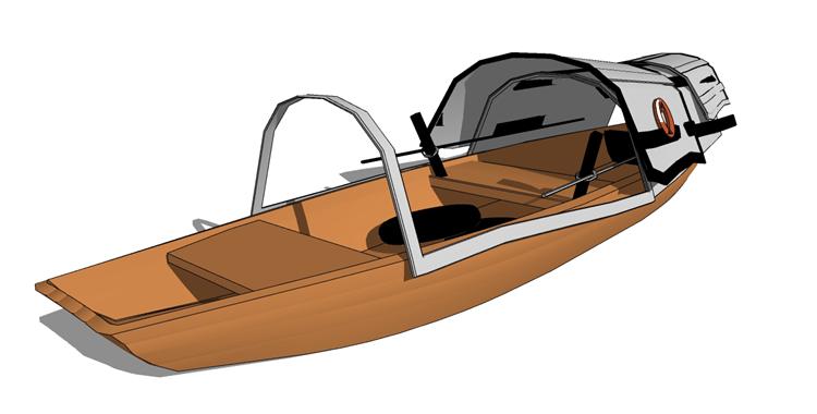 14木筏渔船SU模型12